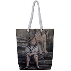 An Old Friend Full Print Rope Handle Tote (small) by redmaidenart