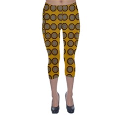 Stars And Wooden Flowers In Blooming Time Capri Winter Leggings  by pepitasart
