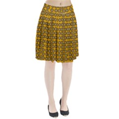 Stars And Wooden Flowers In Blooming Time Pleated Skirt by pepitasart