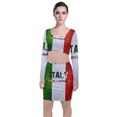 Football World Cup Long Sleeve Crop Top & Bodycon Skirt Set by Valentinaart