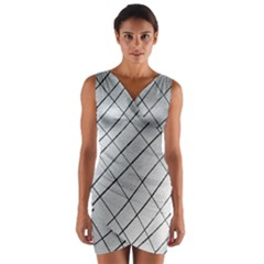 Silver Scratch Wrap Front Bodycon Dress