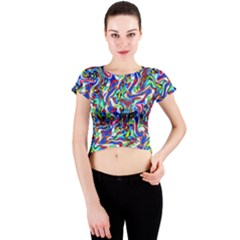 Pattern-10 Crew Neck Crop Top