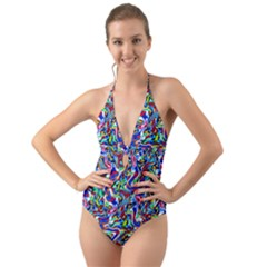 Pattern-10 Halter Cut-out One Piece Swimsuit
