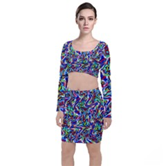 Pattern-10 Long Sleeve Crop Top & Bodycon Skirt Set