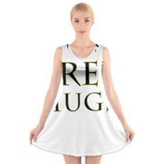 Freehugs V-neck Sleeveless Skater Dress