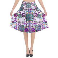 Alien Sweet As Candy Flared Midi Skirt by pepitasart