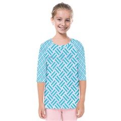 Woven2 White Marble & Turquoise Colored Pencil (r) Kids  Quarter Sleeve Raglan Tee