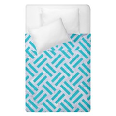 Woven2 White Marble & Turquoise Colored Pencil (r) Duvet Cover Double Side (single Size) by trendistuff