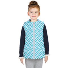 Woven2 White Marble & Turquoise Colored Pencil (r) Kid s Puffer Vest