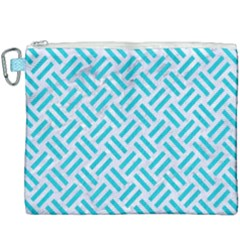 Woven2 White Marble & Turquoise Colored Pencil (r) Canvas Cosmetic Bag (xxxl) by trendistuff