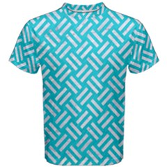 Woven2 White Marble & Turquoise Colored Pencil Men s Cotton Tee by trendistuff