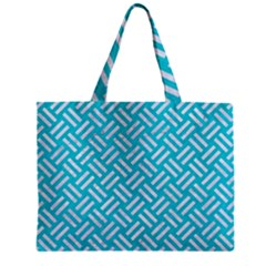 Woven2 White Marble & Turquoise Colored Pencil Zipper Mini Tote Bag by trendistuff