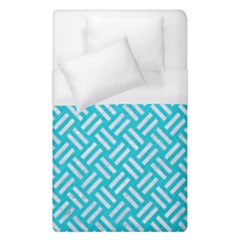 Woven2 White Marble & Turquoise Colored Pencil Duvet Cover (single Size) by trendistuff