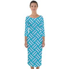 Woven2 White Marble & Turquoise Colored Pencil Quarter Sleeve Midi Bodycon Dress