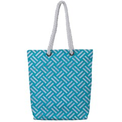 Woven2 White Marble & Turquoise Colored Pencil Full Print Rope Handle Tote (small) by trendistuff