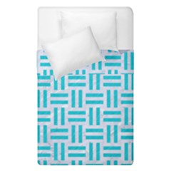 Woven1 White Marble & Turquoise Colored Pencil (r) Duvet Cover Double Side (single Size) by trendistuff