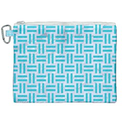 Woven1 White Marble & Turquoise Colored Pencil (r) Canvas Cosmetic Bag (xxl)