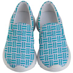 Woven1 White Marble & Turquoise Colored Pencil (r) Kid s Lightweight Slip Ons by trendistuff
