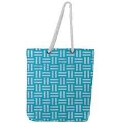 Woven1 White Marble & Turquoise Colored Pencil Full Print Rope Handle Tote (large) by trendistuff