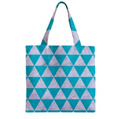Triangle3 White Marble & Turquoise Colored Pencil Zipper Grocery Tote Bag by trendistuff