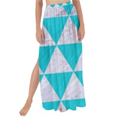 Triangle3 White Marble & Turquoise Colored Pencil Maxi Chiffon Tie Up Sarong by trendistuff