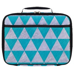 Triangle3 White Marble & Turquoise Colored Pencil Full Print Lunch Bag by trendistuff