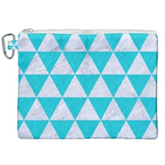 Triangle3 White Marble & Turquoise Colored Pencil Canvas Cosmetic Bag (xxl) by trendistuff