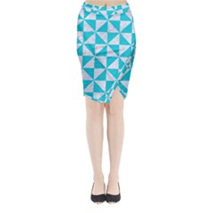 Triangle1 White Marble & Turquoise Colored Pencil Midi Wrap Pencil Skirt by trendistuff
