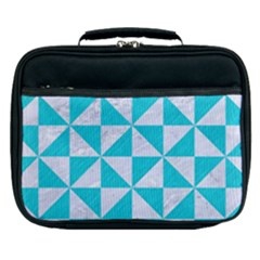 Triangle1 White Marble & Turquoise Colored Pencil Lunch Bag by trendistuff