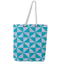 Triangle1 White Marble & Turquoise Colored Pencil Full Print Rope Handle Tote (large) by trendistuff