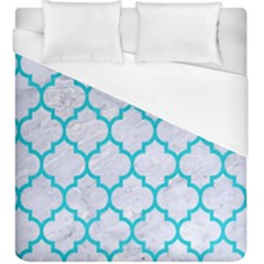 Tile1 White Marble & Turquoise Colored Pencil (r) Duvet Cover (king Size) by trendistuff