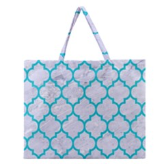 Tile1 White Marble & Turquoise Colored Pencil (r) Zipper Large Tote Bag by trendistuff
