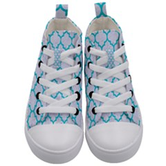 Tile1 White Marble & Turquoise Colored Pencil (r) Kid s Mid Top Canvas Sneakers
