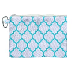 Tile1 White Marble & Turquoise Colored Pencil (r) Canvas Cosmetic Bag (xl) by trendistuff