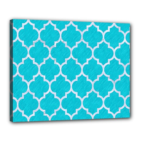 Tile1 White Marble & Turquoise Colored Pencil Canvas 20  X 16