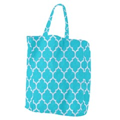 Tile1 White Marble & Turquoise Colored Pencil Giant Grocery Zipper Tote by trendistuff