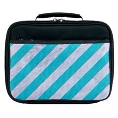 Stripes3 White Marble & Turquoise Colored Pencil (r) Lunch Bag