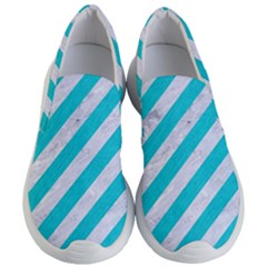Stripes3 White Marble & Turquoise Colored Pencil (r) Women s Lightweight Slip Ons