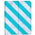 STRIPES3 WHITE MARBLE & TURQUOISE COLORED PENCIL Apple iPad 2 Flip Case View1