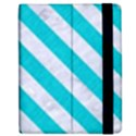 STRIPES3 WHITE MARBLE & TURQUOISE COLORED PENCIL Apple iPad 2 Flip Case View2