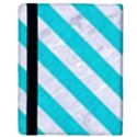 STRIPES3 WHITE MARBLE & TURQUOISE COLORED PENCIL Apple iPad 2 Flip Case View3