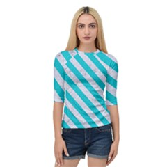 Stripes3 White Marble & Turquoise Colored Pencil Quarter Sleeve Raglan Tee