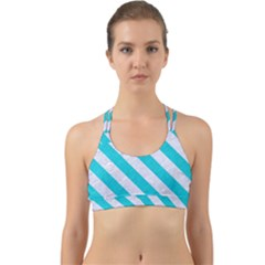 Stripes3 White Marble & Turquoise Colored Pencil Back Web Sports Bra