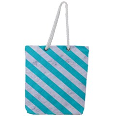 Stripes3 White Marble & Turquoise Colored Pencil Full Print Rope Handle Tote (large) by trendistuff