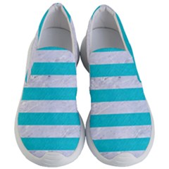 Stripes2white Marble & Turquoise Colored Pencil Women s Lightweight Slip Ons