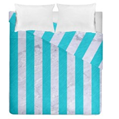 Stripes1 White Marble & Turquoise Colored Pencil Duvet Cover Double Side (queen Size)
