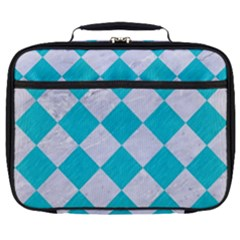 Square2 White Marble & Turquoise Colored Pencil Full Print Lunch Bag by trendistuff