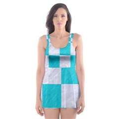 Square1 White Marble & Turquoise Colored Pencil Skater Dress Swimsuit
