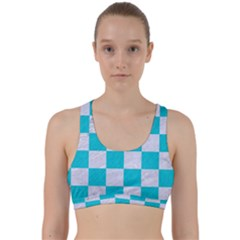 Square1 White Marble & Turquoise Colored Pencil Back Weave Sports Bra