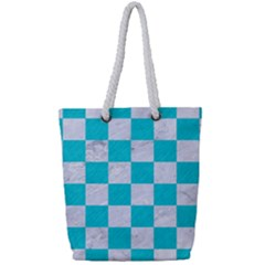 Square1 White Marble & Turquoise Colored Pencil Full Print Rope Handle Tote (small) by trendistuff